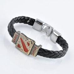 Metal Dotas 2 Game Leather Bracelet for Men Bracelet Men Jewelry Boy Gift Cosplay Bangles Feather Bracelets