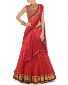 Shaded Coral and red party wear chaniya choli – Panache Haute Couture