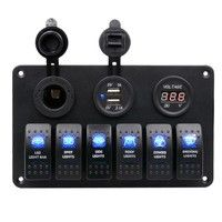 Putars Waterproof 6 Gang Car Auto Boat Marine LED Rocker Switch Panel Circuit Breakers Digital Voltmeter with Cigarette Socket Double USB Power Charger Adapter(Black) Boat Accessories, Cell Phone Accessories, Patrol Gr, Fuse Panel, Car Horn, Vw T, Marine Boat, Charger Adapter, Bar Lighting