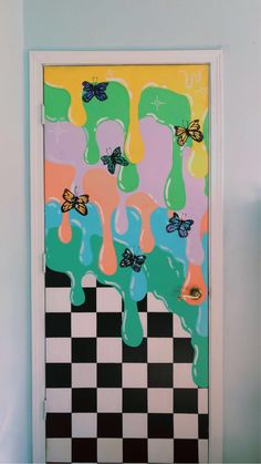 Painted Bedroom Doors, Art Room Doors, Painted Doors, Cute Canvas Paintings, Diy Canvas Art, Room Wall Painting, Indie Art, Wall Drawing, Indie Room
