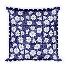 Decorative Pillow - Pillow - Pillow Cover - Throw Pillow - Accent Pillow - Blue and White Flowers Pillow