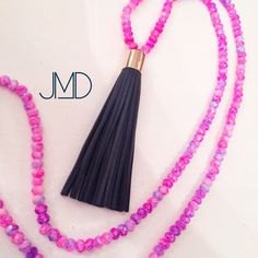 Pink and Navy Tassel Necklace by JennyMichelleDesigns on Etsy