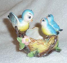 Vintage Lefton Bluebird Norcest Planter Nest Mom by crazy4me