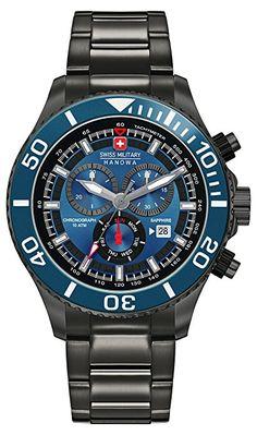Swiss Military SM34223AEU H04MS - Reloj de cuarzo para hombres con esfera  azul y correa 955df73e70