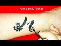 M Letter Henna Mehndi Tattoo Tattoo Alphabet, Alphabet Tattoo Designs, Small Tattoo Designs, Mehndi Designs, Mehndi Tattoo, Henna Mehndi, Henna Art, M Tattoos, Small Tattoos