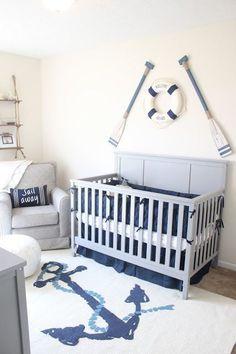 Wow! Love the rug in this nautical theme nursery