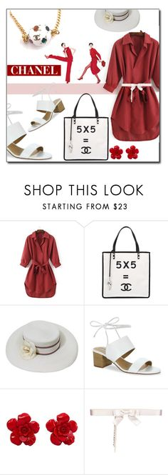 """""""Coco Chanel: Red&White"""" by emc0814 ❤ liked on Polyvore featuring Chanel and Tahari"""