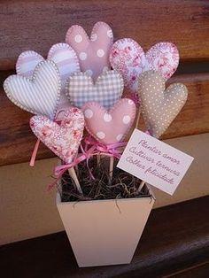 Hearts in a flower pot