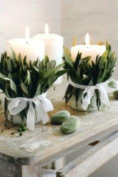 Mooie kaarsen met eucalyptusblad