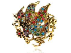 Vintage Inspired Gold Tone Colorful Crystal Rhinestone Flower Bracelet Bangle Alilang. $18.99