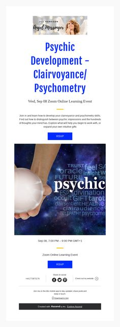 Zoom Online, Psychic Development, Intuition, Mindfulness, Angel, Thoughts, Feelings, Learning, Studying