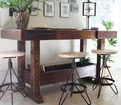El Earhart taburete Industrial moderno taburete de bar realizado con madera reciclada