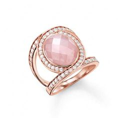 THOMAS SABO Glam & Soul Eternity Rose Quartz Cocktail Ring - TR2015-537-9