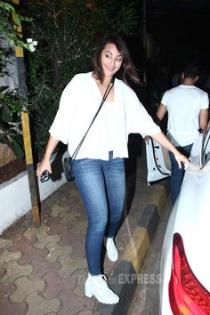 Sonakshi Sinha in a classic white and denim combination. #Bollywood #Fashion #Style #Beauty