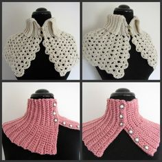 PDF Crochet Pattern Set Quick and Easy Crocheted Scarflette image 3 Crochet Collar, Knit Or Crochet, Crochet Scarves, Crochet Shawl, Crochet Clothes, Crochet Stitches, Free Crochet, Crochet Patterns, Crochet Ideas