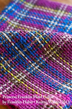 Turn garter stitch into tartan: Princess Franklin Plaid Collar Vintage Patterns, Stitch Patterns, Knitting Patterns, Crochet Patterns, Loom Knitting, Knitting Stitches, Free Knitting, Tunisian Crochet, Knit Or Crochet