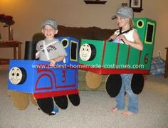 Thomas the Tank Engine and Percy Costume: I used one large box for each of the Thomas the Tank Engine and Percy costume.  All I did was cut the top flaps into the shape of the back of the train,