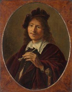 Navolger van Gerrit Dou: portret van een man met een pijp in de linkerhand. 3e of 3e kwart 17e eeuw. Museum Boijmans Van Beuningen, Rotterdam. Naar Gerard Dou: man met pijp