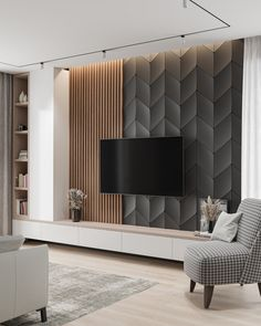 Feature Wall Living Room, Living Room Wall Units, Living Room Tv Unit Designs, Home Living Room, Living Room Decor, Tv Feature Wall, Feature Wall Design, Design Salon, Küchen Design