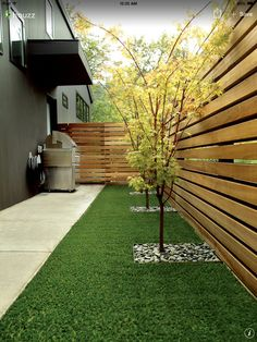 Minimal back yard with wood fencing