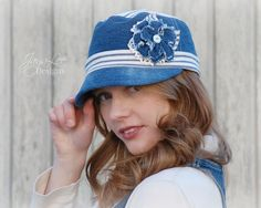 Denim Flower Cadet Cap Hat in Blue and White by GreenTrunkDesigns