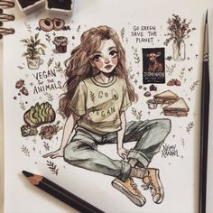 Pencil Art Drawings, Cool Art Drawings, Art Drawings Sketches, Cartoon Drawings, Cute Art Styles, Cartoon Art Styles, Arte Indie, Arte Sketchbook, Art Reference