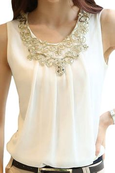 SKCUTE Women Chiffon Blouses Elegant Gold Embroidery Lace White