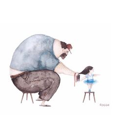 Ukrainian artist Snezhana Soosh's poignant illustrations of a father-daughter relationship went viral. Now the illustrator has spoken about how her artwork is influenced by her relationship with her own dad. Father Daughter Relationship, Daddy Daughter, Daughters, Sweet Pictures, Adorable Pictures, Illustrator, Illustration Photo, Watercolour Illustration, Dad N Me