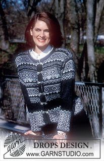 DROPS Cardigan in Alpaca with borders in Cotton Viscose and Silke-Tweed; Scarf in Puddel. Fair Isle Knitting Patterns, Fair Isle Pattern, Sweater Knitting Patterns, Drops Design, Tweed, Knitting Daily, Free Knitting, Norwegian Knitting, Drops Patterns
