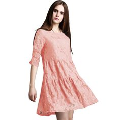Black Pink Elegant Sexy Lace Jacquard Crochet Floral Women Dress Plus Size 5XL Vintage Half Sleeve Female Pleated Vestido Outfit ** To view further for this item, visit the image link.