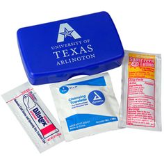 Reuseable living hinge case contains Blistex packet, Sunscreen packet and wash-up towelette.Polypropylene