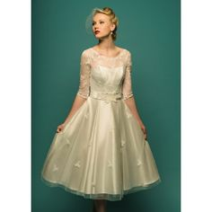 Tea Dresses with Sleeves | ... -applique-vintage-half-sleeve-tea-length-ball-gown-wedding-dress.html