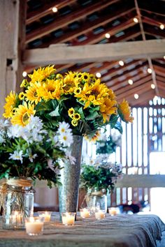 Rustic sunflower wedding table decoration by alfloral.com