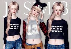 Long-Sleeves Crop Top by JS Sims3 • Sims 3 Downloads CC Caboodle