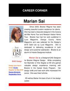 Congratulations Marian! Bachelor of Arts Degree in Interior Design Graduate