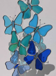 Freeform Blue Butterflies Stained Glass Suncatcher
