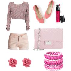 Pink by jessicaregina898 on Polyvore featuring polyvore, fashion, style, Pieces, Boden, Design Inverso, MARC BY MARC JACOBS, Ashley Stewart and Laura Geller