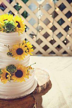 Sunflowers + Succulents #WeddingCake I simply sweet cakery I http://www.weddingwire.com/biz/simply-sweet-cakery-costa-mesa/portfolio/ea2df7f3ccfe3ad9.html?page=2#vendor-storefront-content