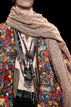 """Boho Style"" outfit at Saint Laurent's Spring 2015 Menswear Collection. Hmm, do I see a Ukrainian beadloomed gerdan nestled among those layered necklaces? Gypsy Style, Boho Gypsy, Hippie Style, Bohemian Style, Boho Chic, My Style, Style Men, Ethnic Fashion, Boho Fashion"