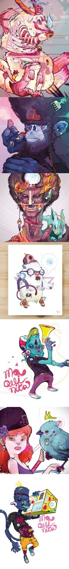 Les illustrations numériques colorées et décalées de Andrés Ariza. Un univers et un style excellent.