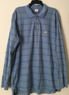 88026cd9c4e03b Brooks Brothers 346 Mens Polo Shirt Long Sleeve Performance Fit Blue Stripe  XL  BrooksBrothers  PoloRugby
