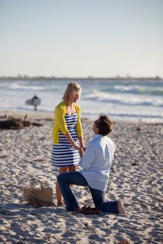 Gorgeous details in this romantic beachside proposal! #beach #proposal #engagement