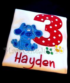 Blues Clues themed birthday number shirt by madecutejust4u on Etsy, $20.00