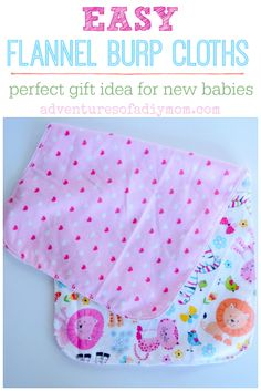 Super Easy Burp Cloths - a quick gift idea Easy flannel burp cloths made in just 3 steps in less than 10 minutes! A quick and easy gift idea for new babies. A mom. Baby Sewing Projects, Sewing Patterns For Kids, Sewing Crafts, Sewing Ideas, Diy Projects, Diy Baby Gifts, Baby Crafts, Easy Gifts, Kids Gifts