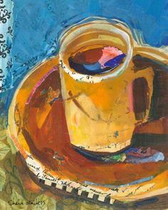 Morning Coffee  -   Shelli Walters    American,b. ?    Mixed media and torn paper collage , 10 x 10 in.