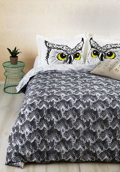 Fly Off to Dreamland Duvet Cover in Full/Queen. When youre preparing to float off to sleep, slip this grey-scale, feather-printed duvet cover - a ModCloth exclusive - on your comforter. #black #modcloth