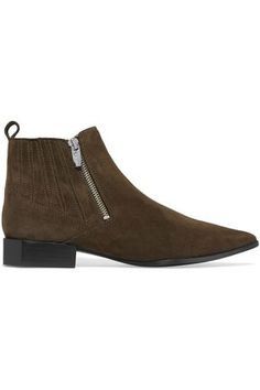 Sigerson Morrison Bambie Suede Ankle Boots In Army Green Brown Ankle Boots, Suede Shoes, Leather Ankle Boots, Knee High Boots, Heeled Boots, Sigerson Morrison, Ankle Highs, Ankle Strap Sandals, Low Heels