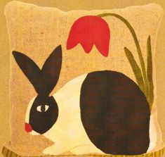 Springtime Rabbit Pillow [felted wool] would love to applique and quilt in cotton. Motifs Applique Laine, Wool Applique Patterns, Applique Pillows, Felt Applique, Applique Quilts, Quilt Patterns, Motifs D'appliques, Felt Pillow, Quilted Pillow