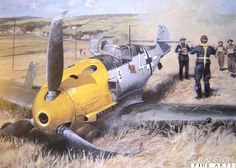 "30th September - Unt. Horst Perez pilot of  Bf109E-4/N ""White 4"" of JG26 was shot down by Sgt. Kingsby of 92Sqn flying a Spitfire over Beachy Head and belly-landed wheels up at East Dean, near Eastbourne, Sussex. Perez surrendered to P.C. Walter Hyde and the local Home Guard, who shot Perez in the hand and jaw while he was surrendering."