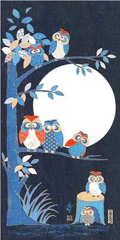 Japanese Asian Quilting Sewing Fabric - Noren Panel - Owl Family In Tree & Full Moon Owl Applique, Applique Patterns, Applique Quilts, Quilt Patterns, Owl Quilt Pattern, Owl Patterns, Japanese Quilts, Japanese Art, Owl Quilts